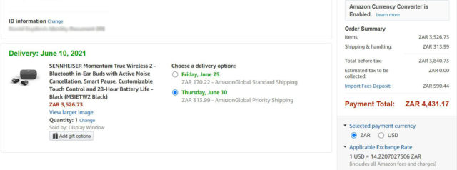 amazon shipping page