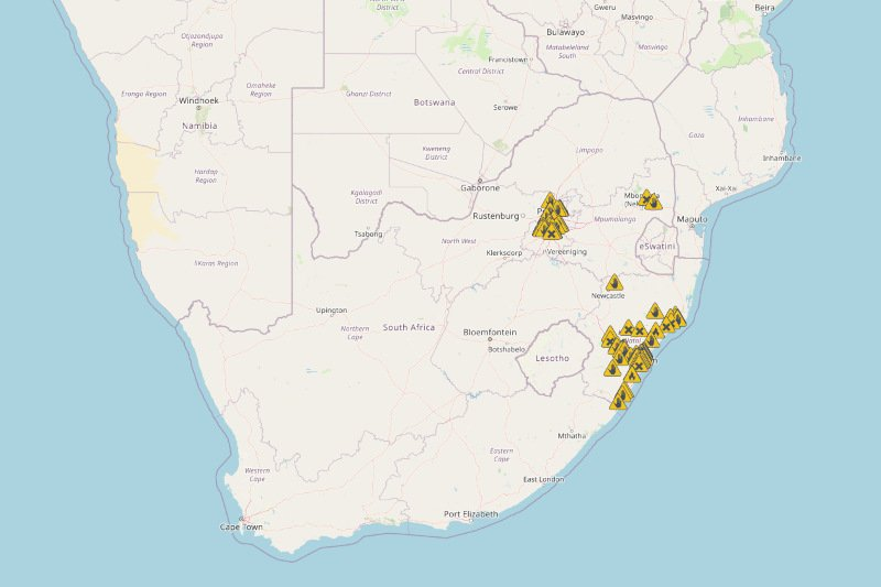 This map shows where looting and violence is happening in South Africa right now